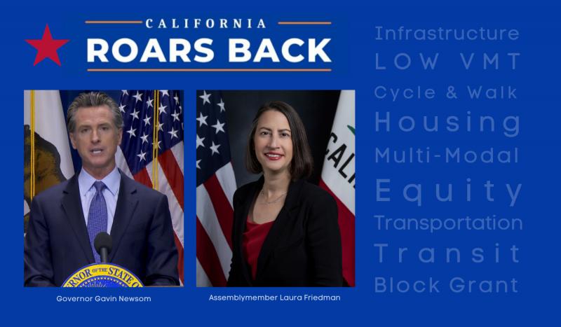 California Roars back logo with Newsom and Friedman photos