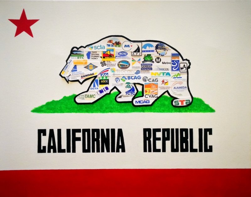 California Flag with CALCOG Member Logos imposed over bear