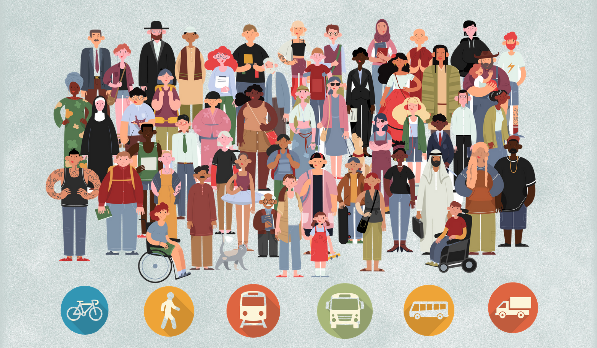 Diverse people and transportation icons