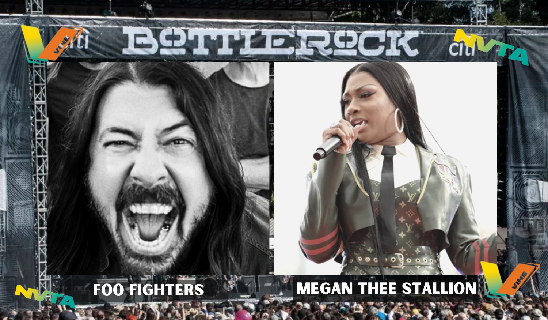 Foo Fighters & Megan The Stallion under Bottlerock Logo